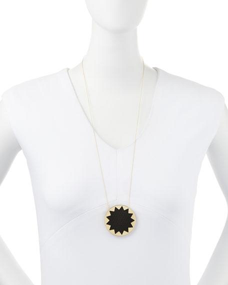Sunburst Snake-Embossed Pendant Necklace, Black