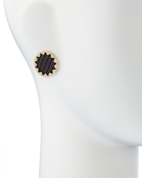Sunburst Snake-Embossed Leather-Inlay Earrings
