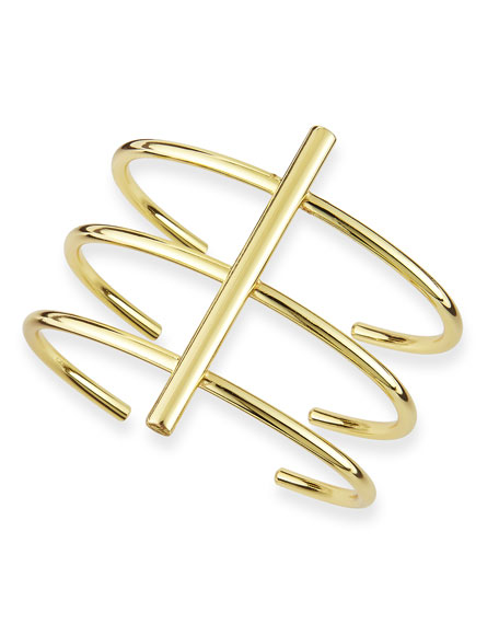 Triple-Tiered Bar Cuff Bracelet, Golden
