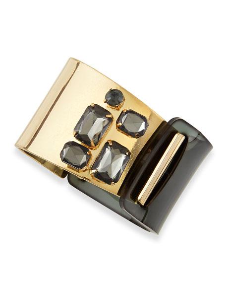 Plastic & Golden Crystal Cuff Bracelet, Gunmetal