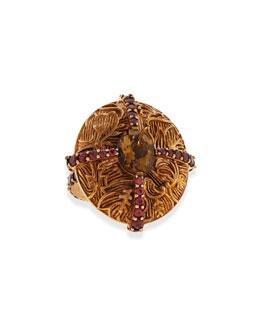 Stephen Dweck Engraved Bronze Ring with Rhodolite & Cognac Quartz
