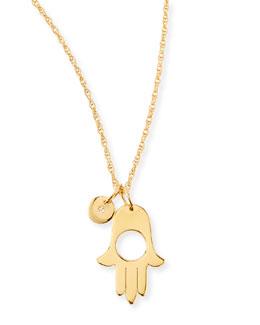 Jennifer Zeuner Ester Hamsa & Diamond Charm Necklace