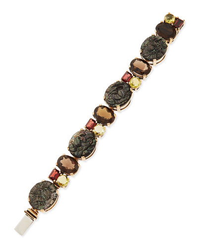 Stephen Dweck Bronze Bracelet with Facets & Carved Mother-of-Pearl