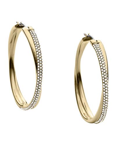 Michael Kors  Crisscross Pave Hoop Earrings, Golden