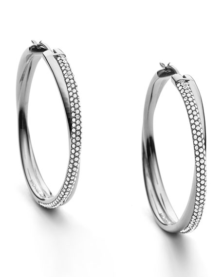 Crisscross Pave Hoop Earrings, Silver Color
