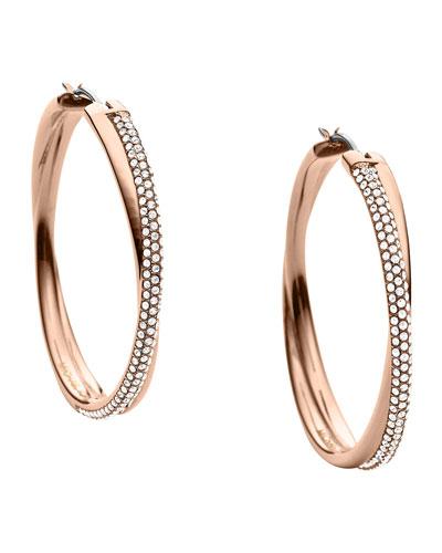 Michael Kors  Crisscross Pave Hoop Earrings, Rose Golden