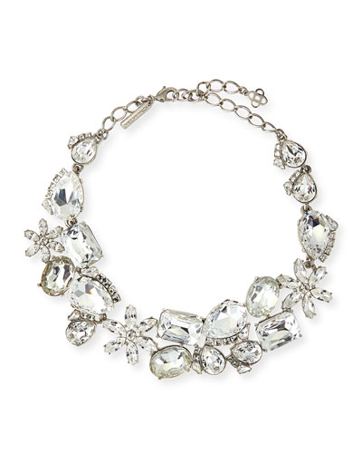 Oscar de la Renta Clear Multi-Crystal Necklace