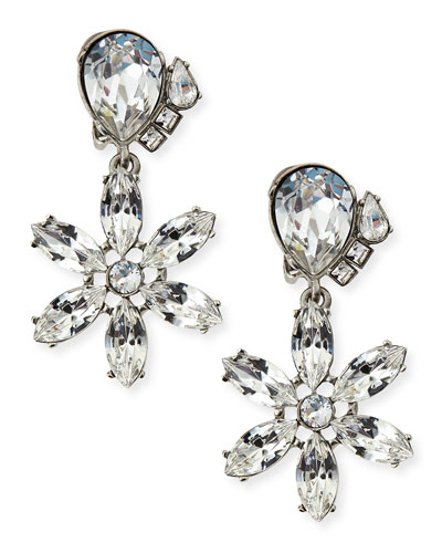 Clear Multi-Crystal Clip-On Earrings