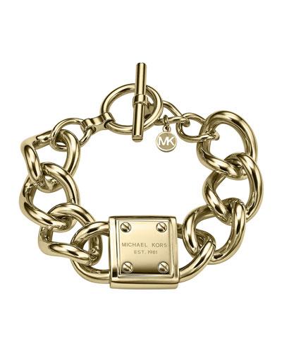 Michael Kors  Logo-Plaque Link Bracelet, Golden