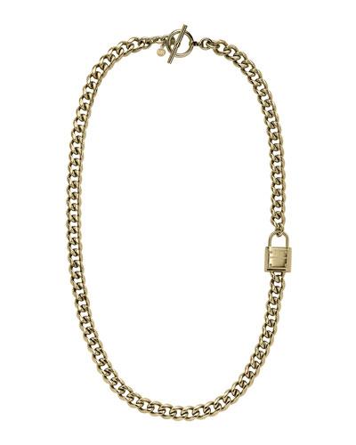 Michael Kors  Long Padlock Chain Necklace, Golden