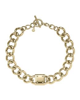 Michael Kors  Logo-Plaque Curb-Chain Necklace, Golden