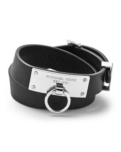 Michael Kors  Leather Wrap Bracelet, Black
