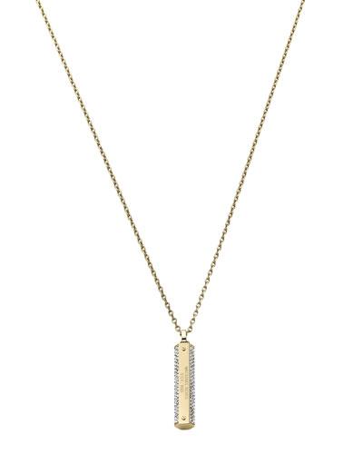 Michael Kors  Pave Logo-Plaque Necklace, Golden