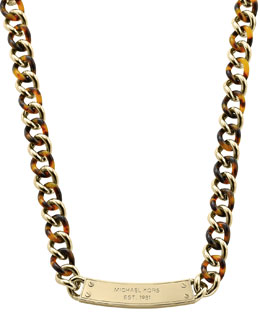 Michael Kors  Curb-Chain Plaque Necklace, Golden