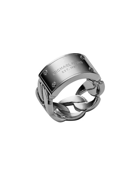 Curb-Chain Logo Ring, Silver Color