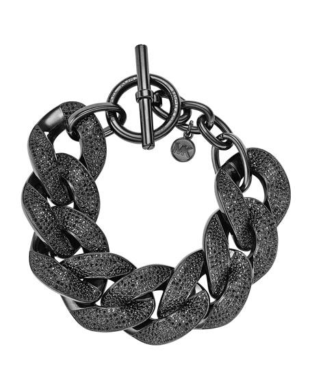 Pave Curb-Chain Bracelet, Black