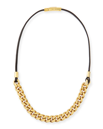 Michael Kors  Curb-Chain/Leather Necklace, Golden