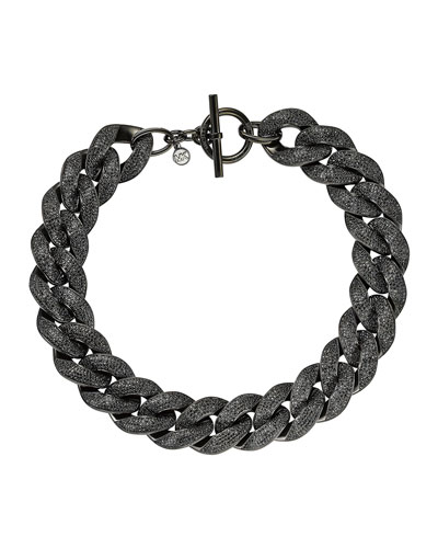 Michael Kors  Curb-Chain Pave Toggle Necklace, Black