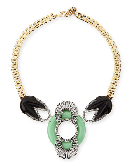 Moderne Enamel & Crystal Bib Necklace