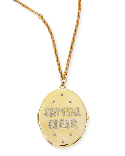 Crystal Clear Golden Locket Necklace