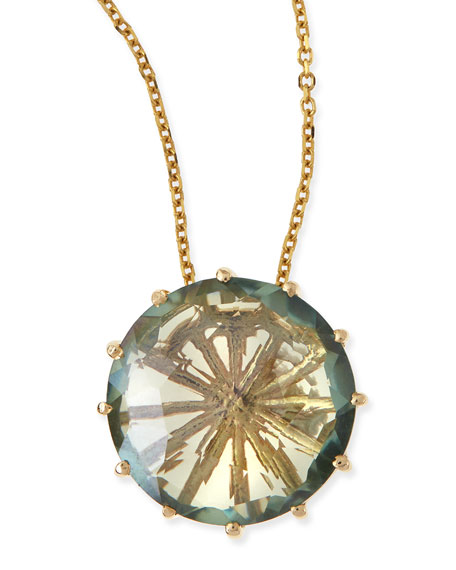 12mm Round Green Envy Topaz Pendant Necklace