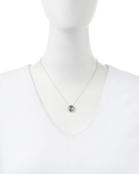 12mm Round Blue Topaz Pendant Necklace