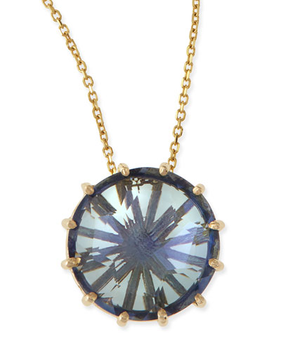 KALAN by Suzanne Kalan 12mm Round Blue Topaz Pendant Necklace