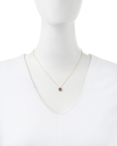 6mm Blue Topaz & White Sapphire Pendant Necklace