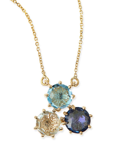 Multi-Stone Blue Cluster Pendant Necklace