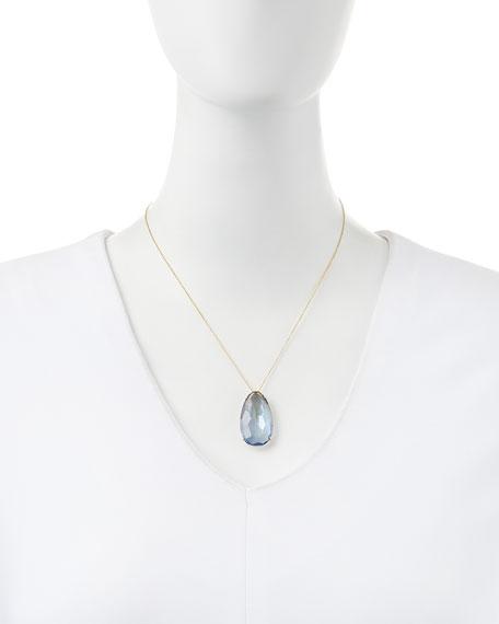 Pear English Blue Quartz Pendant Necklace