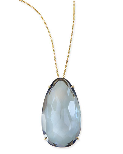 Pear English Blue Quartz Pendant Necklace