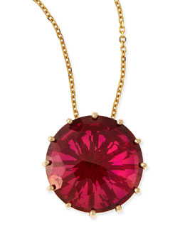 KALAN by Suzanne Kalan 12mm Round Red Crimson Topaz Pendant Necklace
