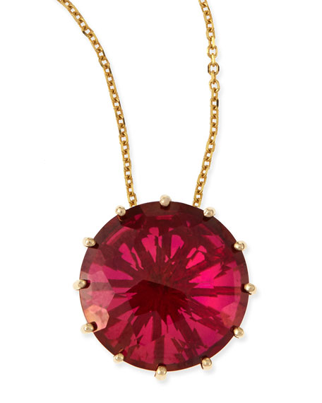 12mm Round Red Crimson Topaz Pendant Necklace