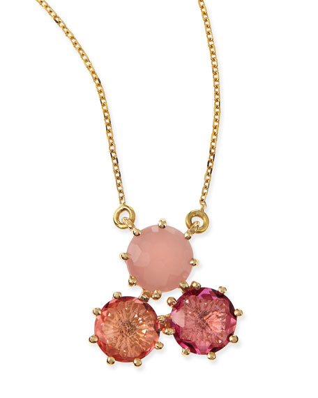 Multi-Stone Pink Cluster Pendant Necklace