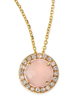 KALAN by Suzanne Kalan 6mm Rose Quartz & White Sapphire Pendant Necklace