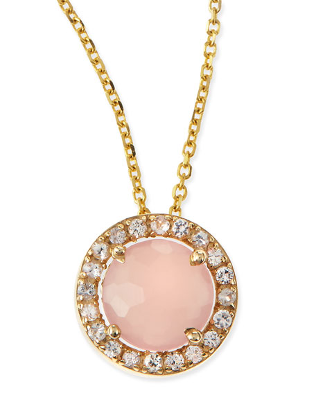 6mm Rose Quartz & White Sapphire Pendant Necklace