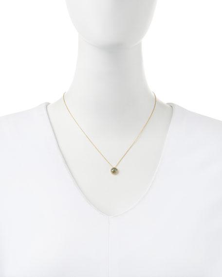 6mm Green Topaz & White Sapphire Pendant Necklace