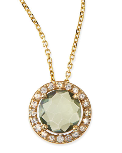 6mm Green Topaz & White Sapphire Pendant Necklace