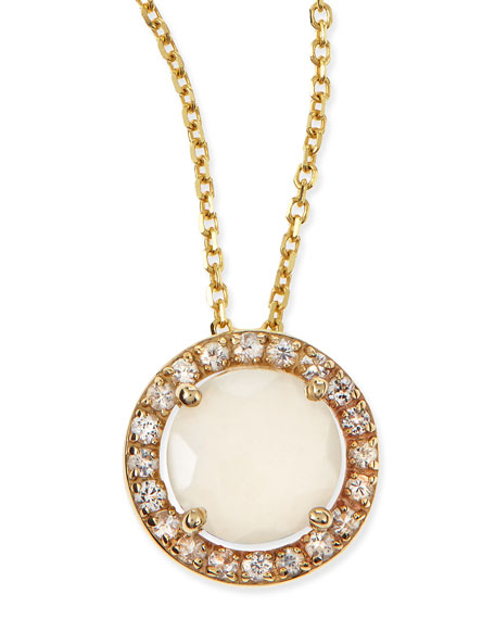 6mm Moonstone & White Sapphire Pendant Necklace