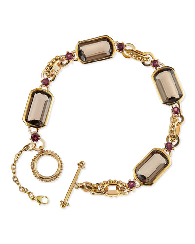 Stephen Dweck Smoky Quartz and Rhodolite Garnet Link Bracelet