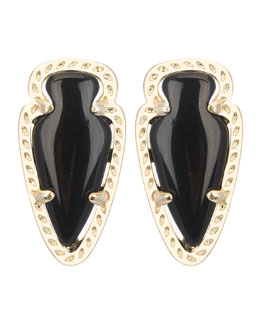 Kendra Scott Skylette Black Glass Stud Earrings