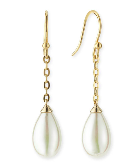 16mm Gold Vermeil Chain Drop Earrings with Pearl