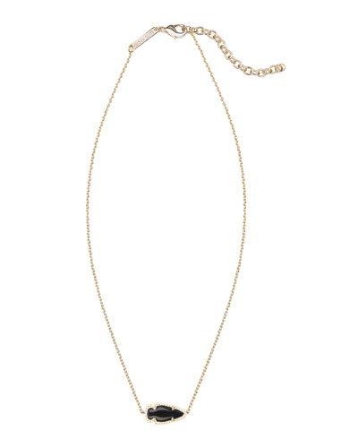 Kendra Scott Skylie Black Glass Arrow Necklace
