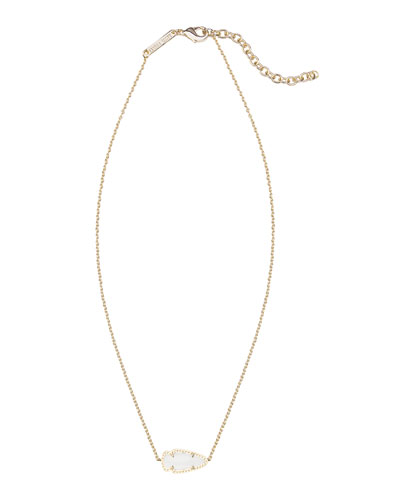 Kendra Scott Skylie White Pearlescent Arrow Necklace