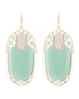 Kendra Scott Deva Lotus Green Chalcedony Earrings