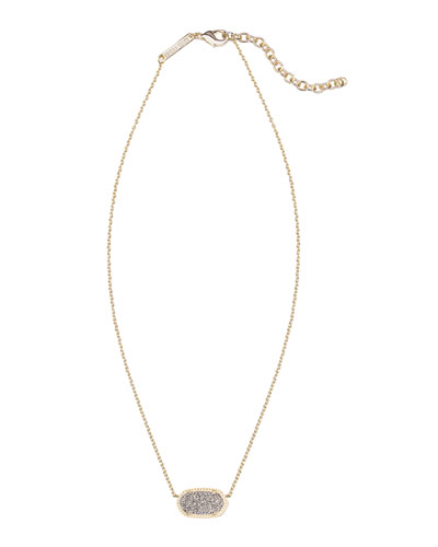 Kendra Scott Elisa Gunmetal Druzy Necklace