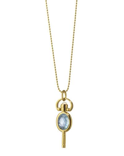 Monica Rich Kosann 18k Gold Mini Blue Topaz Oval Pocketwatch Key Necklace