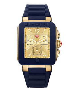MICHELE Park Jelly Bean Watch, Navy/Yellow Gold