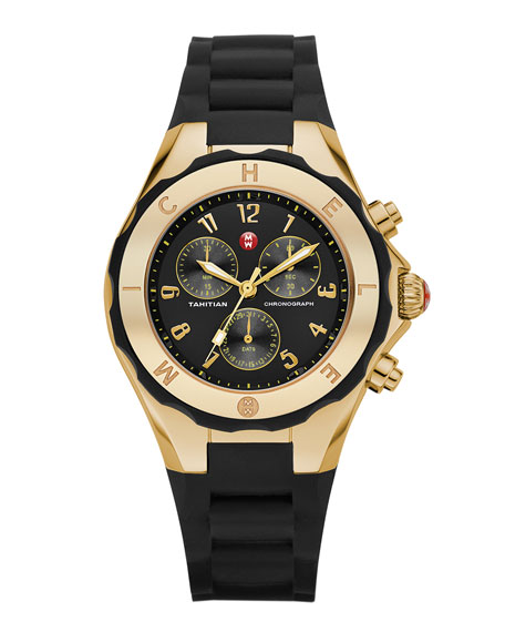 Gold Tahitian Large Jelly Bean Watch, Black/Yellow Gold