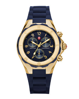 MICHELE Gold Tahitian Large Jelly Bean Watch, Navy/Yellow Gold